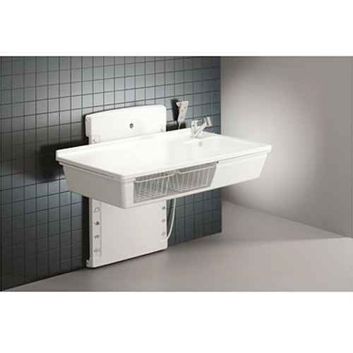 Children's low start height changing table with sanitary appliances