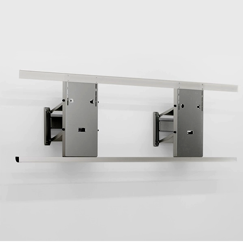 Lift for wall cabinets, with 2 motors